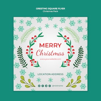 Merry christmas flyer met decoraties