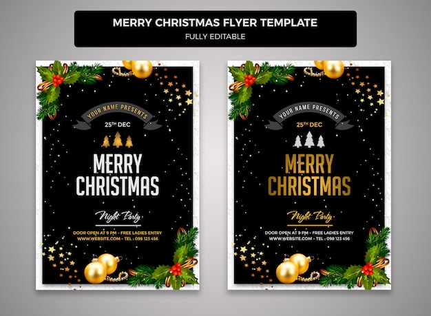 Merry christmas flyer ontwerpsjabloon