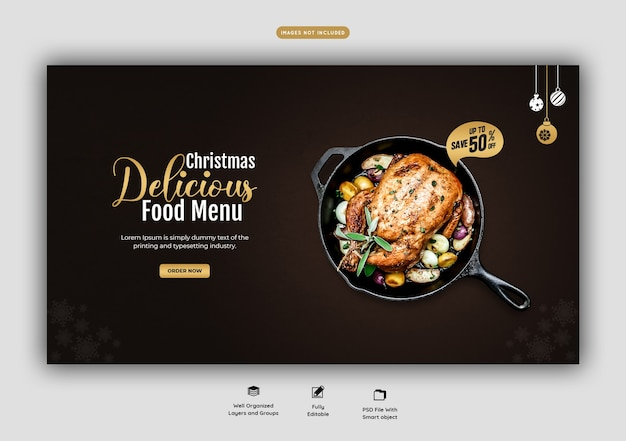 Merry christmas food menu en restaurant websjabloon voor spandoek
