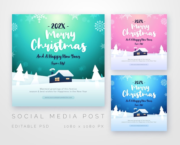 Merry christmas greetings for social media template
