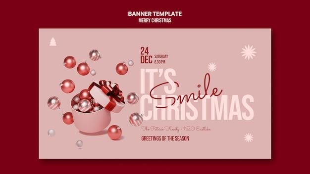 Merry christmas horizontale banner sjabloon