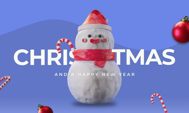 Merry christmas illustratie thema met schattige sneeuwpop candy stick 3d render