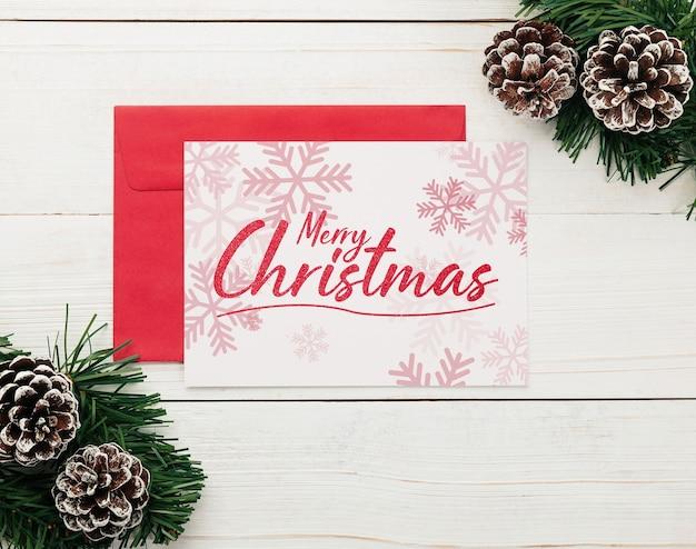 Merry christmas kraftpapier wenskaart mockup