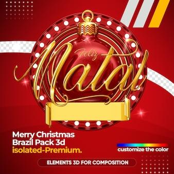 Merry christmas-logo voor compositie geïsoleerd