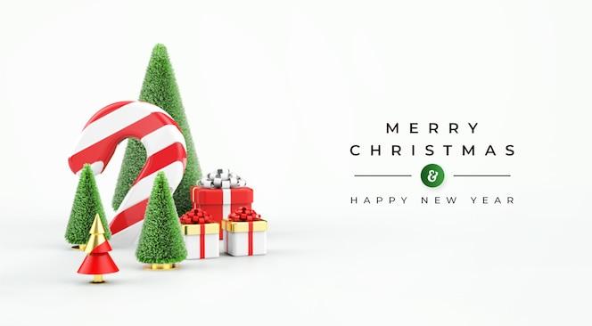 Merry christmas sale banner met 3d-objecten