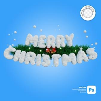 Merry christmas sneeuw textuur en krans met bellen lichten 3d-object