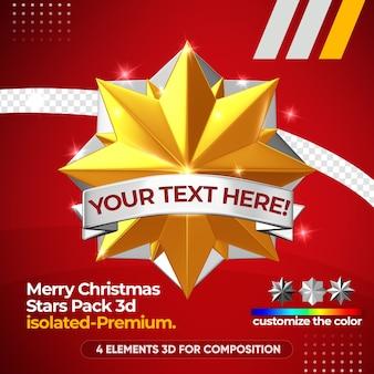 Merry christmas star pack mockup geïsoleerd