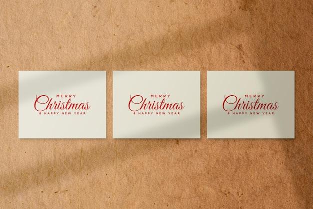 Merry christmas wenskaart mockup psd met schaduw