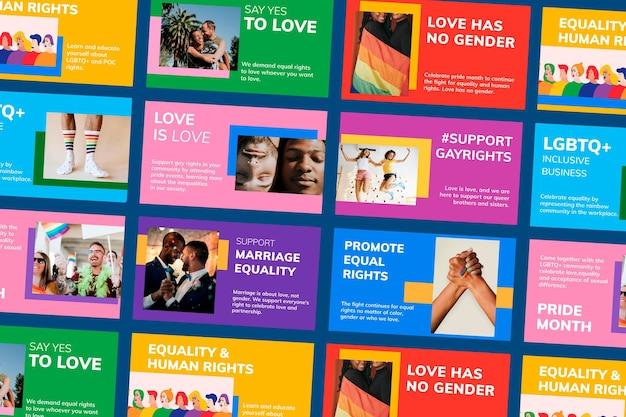 Mes del orgullo lgbtq plantilla psd apoyo a los derechos de los homosexuales blog colección de banners