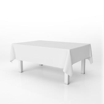 Mesa de comedor maqueta con un paño blanco