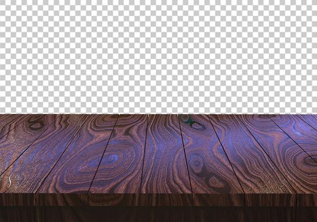 Mesa de madera aislada sobre fondo transparente