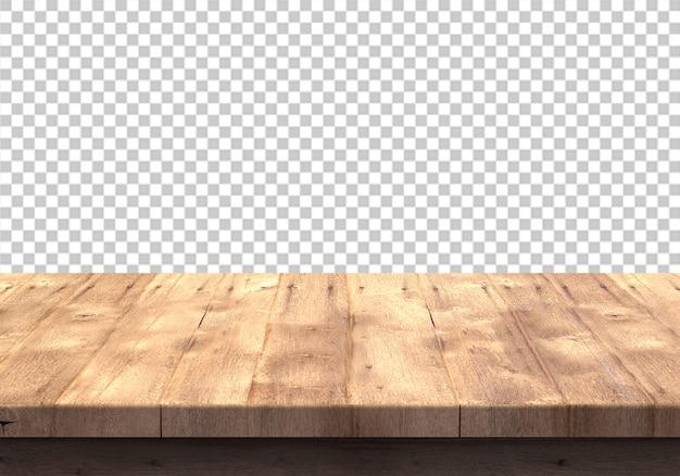 Mesa de madera aislada en transparente