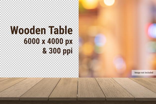 Mesa de madera o maqueta de panel de madera sobre fondo transparente