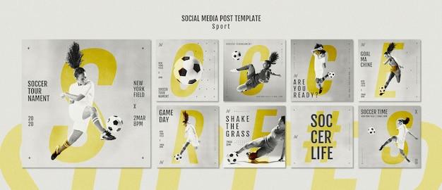Messaggi di social media per giocatori di football femminile