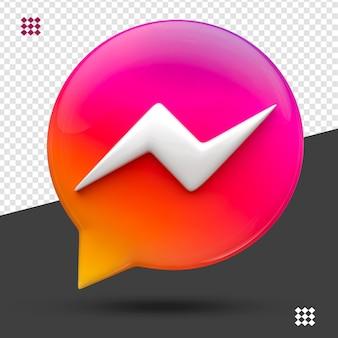 Messenger 3d pictogram instagram kleur geïsoleerd