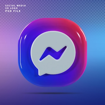 Messenger logo 3d render luxe