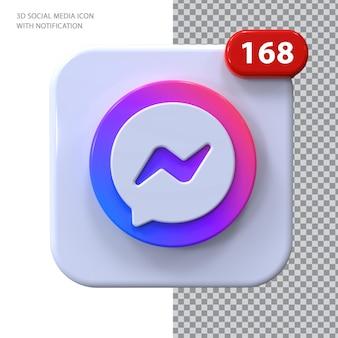Messenger-pictogram met melding 3d-concept