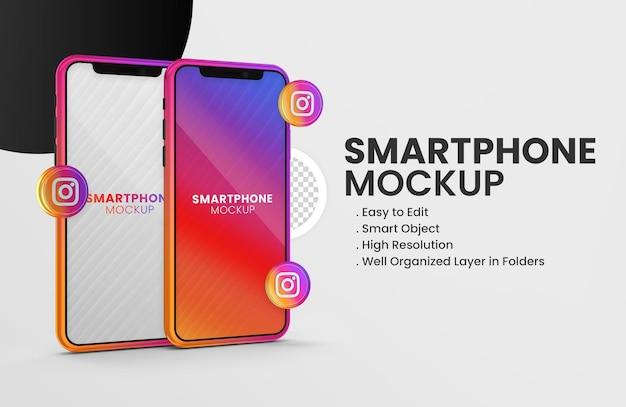 Met 3d render instagram pictogram smartphone mockup