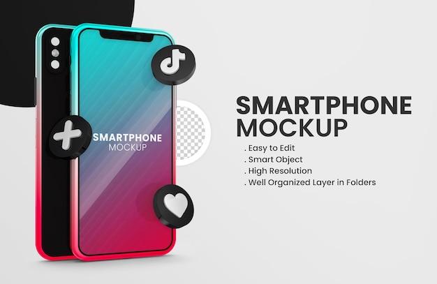Met 3d render tiktok icoon smartphone mockup