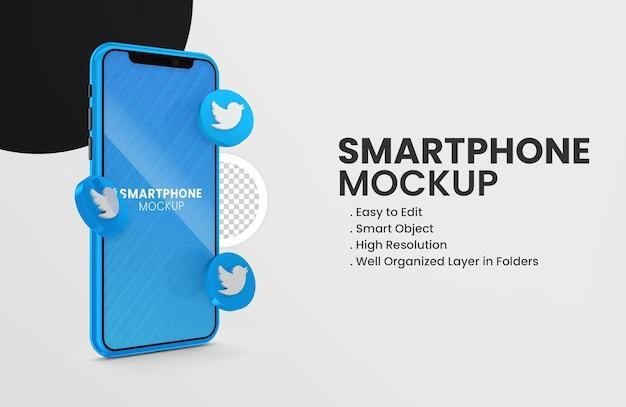 Met 3d render twitter icoon smartphone mockup
