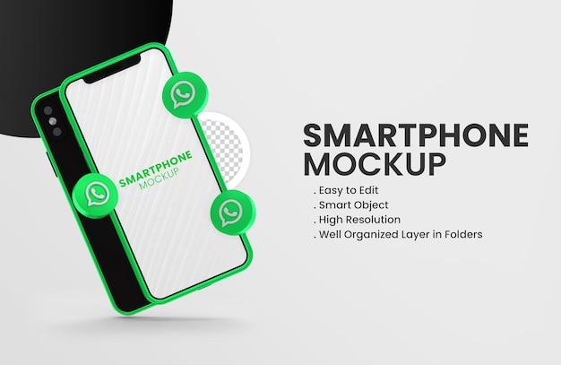Met 3d render whatsapp-pictogram op groene smartphone-mockup