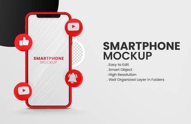 Met 3d render youtube icoon smartphone mockup