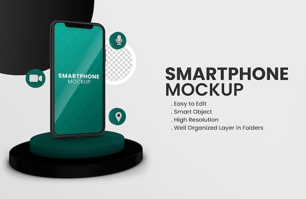 Met 3d whatsapp-pictogram en stand op zwarte smartphone mockup geïsoleerd