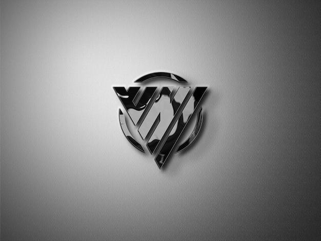 Met glas gecoat 3d mockup-logo