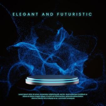 Metaalblauw neon podium met scifi deeltje