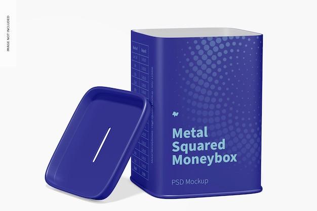 Metal squared moneybox mockup, geopend