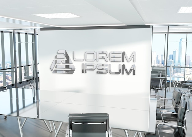 Metalen 3d logo op kantoormuur mockup