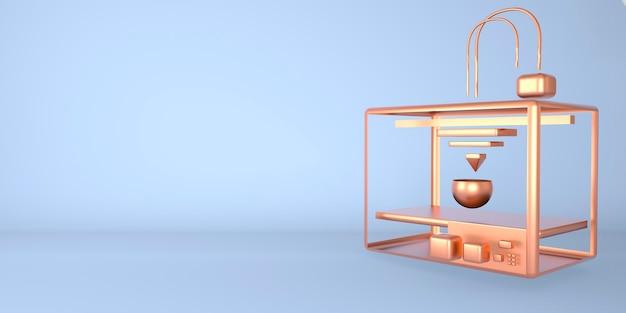 Metalen 3d-printer printering 3d render, 3d illustratie, achtergrond met kopie ruimte.