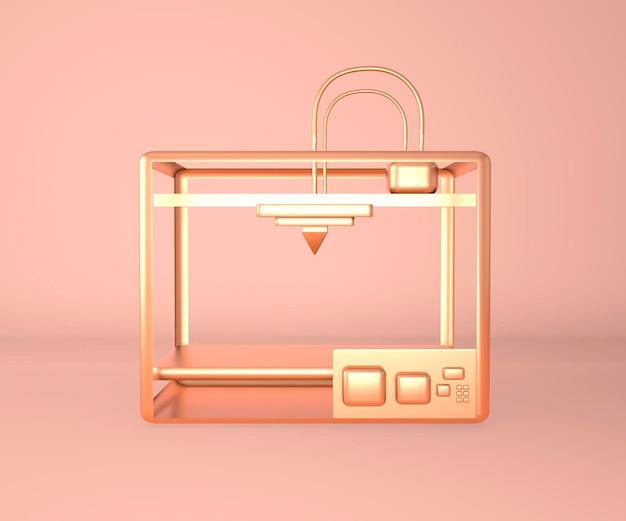 Metalen 3d-printer printering 3d render, 3d illustratie.