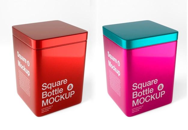 Metalen blikken doos mockup ontwerp geïsoleerd