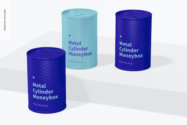 Metalen cilinder spaarpot mockup
