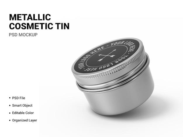 Metalen cosmetische tinnen mockupweergave