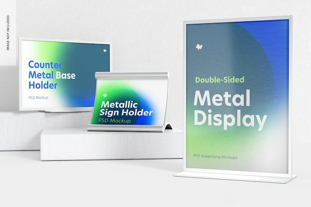 Metalen desktopbordhouder scene mockup, linkeraanzicht