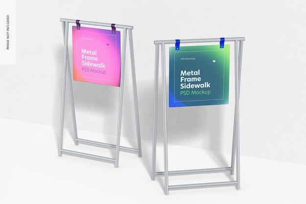 Metalen frame stoepborden mockup, perspectief