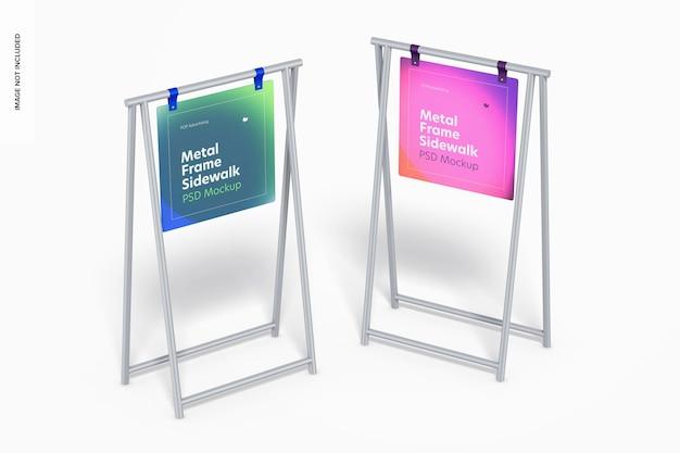 Metalen frame stoepborden mockup