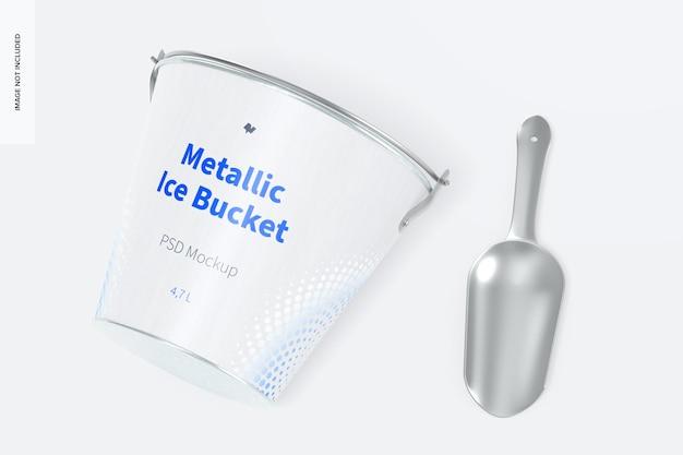Metalen ijsemmer mockup, bovenaanzicht