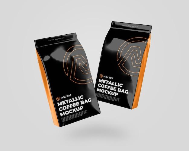 Metalen koffietas float mockup