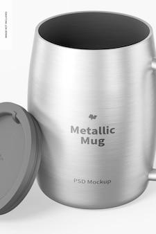 Metalen mok met dekselmodel