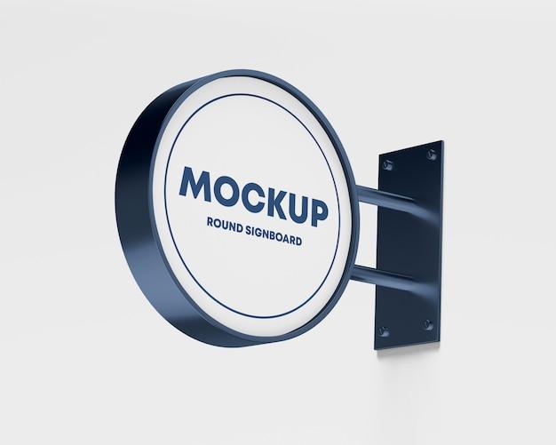 Metalen ronde uithangbord mockup