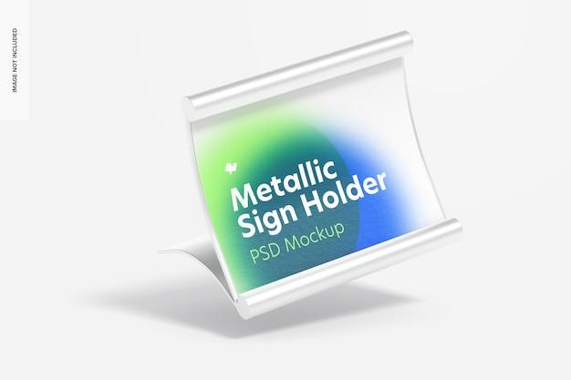 Metalen tafelbord houder mockup, vallende