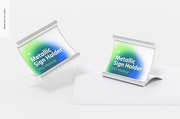 Metalen tafelbordhouders mockup