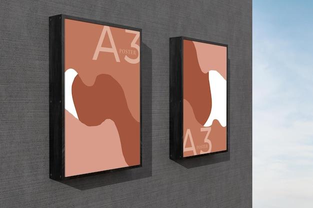 Metalen uithangbord poster mockup