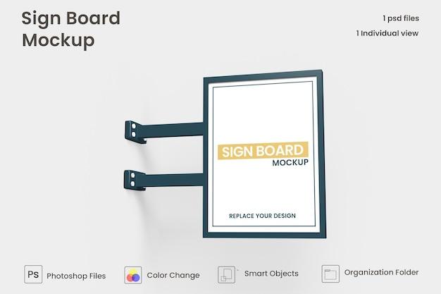 Metalen verticale uithangbord mockup ontwerp geïsoleerd premium psd