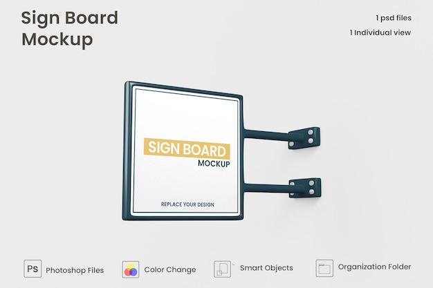 Metalen vierkante uithangbord mockup geïsoleerd premium psd