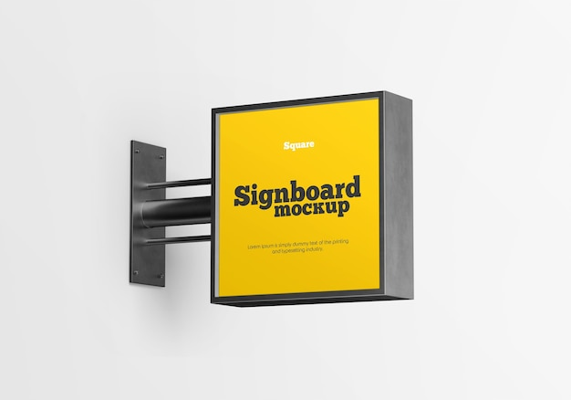 Metalen vierkante uithangbord mockup geïsoleerd