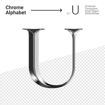 Metallic chroom alfabet letter u geïsoleerd